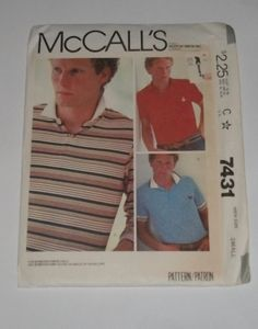McCall's 7431 - Men's Shirts - For Stretch Knits Only - Size Small - Chest 34-36