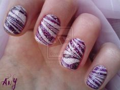 Cute and Cool Nail Art Designs Ideas: Naildesign Shop Silver Nail Designs, Purple Nail Designs, Nail Polish Designs, Nail Art Designs, Purple And Silver Nails, Purple Nail Art, Glitter Nail Art, Purple Zebra, Glitter Top