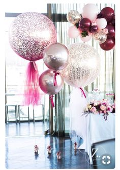 Pastel Pink & metallic sparkly balloons are the perfect addition to a hen party! Pastel Pink & metallic sparkly balloons are the perfect addition to a hen party! Tulle Balloons, Wedding Balloons, Glitter Balloons, Balloon Ideas, Pastel Balloons, Balloon Garland, Foil Balloons, 30 Birthday Balloons, Ideas Para Fiestas