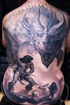 Guil Zekri tattoos an old school superhero in this scene of Conan the Barbarian defending a nude maiden from a dragon