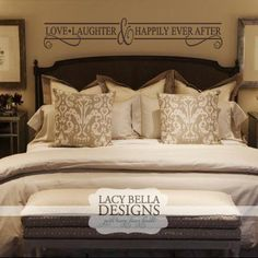 """""""Love Laughter & Happily Ever After"""" vinyl wall decal master bedroom home decor"""
