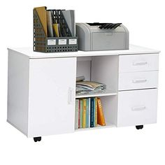 Greensen Filing Cabinet Modern Mobile Filing Pedestal Large Document Storage Cupboard Wooden Bookcase Unit with 3 Drawers 1 Door Open Storage Shelf Office and Home Furniture, 90 × 40 × 51 cm (White) Cupboard Storage, Storage Shelves, Shelf, Wooden Bookcase, Wooden Cabinets, Door Opener, Pedestal, Filing Cabinet, Home Furniture