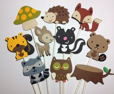 Set Of 12 Woodland Animal Cupcake Toppers,Birthday,Baby Shower,Forest Friends,Fox,Fawn, Owl,Squirrel,Raccoon,Skunk,Hedgehog,Beaver via Etsy