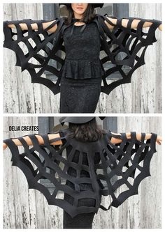 No-Sew Halloween Spiderweb Cape TUTORIAL ~ child or adult. Says: It's versatile too. I've made it into a witch accessory, but you could totally just be a spider web for Halloween and put a huge plastic spider on your back. MY COSTUME THIS YEAR! Last Minute Halloween Costumes, Diy Halloween Costumes, Halloween Crafts, Halloween Makeup, Halloween Decorations, Homemade Halloween, Witch Costumes, Diy Bat Costume, Black Dress Halloween Costume