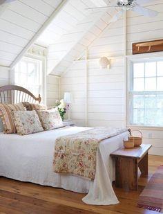 Peaceful, country / farmhouse.  Wood floor, antique bed Cozy Bedroom, Dream Bedroom, Bedroom Decor, Bedroom Girls, Bedroom Lighting, Serene Bedroom, Bedroom Ideas, White Bedroom, Bedroom Wall