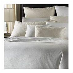Barbara Barry Bedding Peaceful Petals Crisp White Full Queen Duvet Cover $378