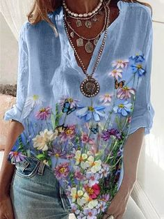 Moda Fashion, Womens Fashion, Latest Fashion, Floral Tops, Floral Prints, Floral Style, Art Prints, Blouse Online, Sleeve Styles