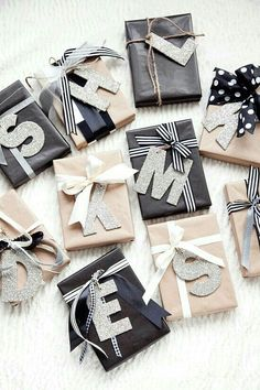 initials-gift-wrapping Emballage Cadeau 20 Unique & Creative Gift Wrapping Ideas That'll Impress Everyone Christmas Present Wrap, Christmas Gift Wrapping, Diy Christmas Gifts, Christmas Decorations, Santa Gifts, Christmas Ideas, Office Decorations, Homemade Christmas, Christmas Ornaments