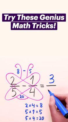 Cool Math Tricks, Maths Tricks, Math Hacks, Math Tips, Life Hacks For School, School Study Tips, Math For Kids, Fun Math, Math Skills