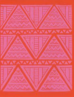 Pink and orange geometric print.