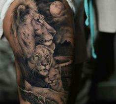 Tatouage de lion homme symbole lion le signe astrologique du lion dessin lion lionne et son enfant