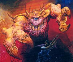 Astral Dreadnought - Dungeons & Dragons - Outsider | Illustration by Jeff Easley | The cacodemon from the Doom video game series was heavily inspired by this creature.