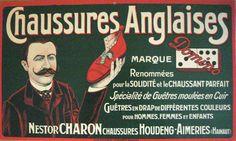 1900 Vintage Brussels Shoe Poster Nestor Charon Shop for English Shoes
