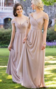 Elegant 2017 Wedding Bridesmaid Dress, Wedding Bridal Gown, Simple Long Bridesmaid Dress, Off Shoulder Chiffon Bridesmaid Dress V Neck Champagne Formal Gown