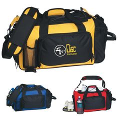 a165d0e8254 Deluxe Sports Duffel Bag: Side Web Pull Handle With Comfortable Rubber  Grip. Double Zippered