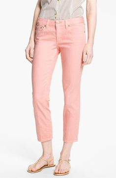Tory Burch 'Alexa' Crop Skinny Stretch Jeans (Light Coral) | Nordstrom