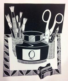 Artwork by Jan Brewerton Group Art Projects, Animal Art Projects, Fall Art Projects, Art And Illustration, Ink Illustrations, Lino Art, Scratchboard Art, Linoleum Block Printing, Art Prints For Home