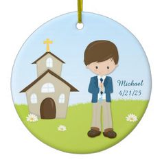 Shop First Communion, Brunette Boy Ceramic Ornament created by StarStock. Wedding Color Schemes, Wedding Colors, Personalized Note Cards, First Holy Communion, Christian Quotes, Little Boys, Create Yourself, Ceramics, Unisex