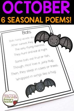This Poem of the Week pack has 4 seasonal and 2 Halloween poems with related literacy activities! Great for Halloween but the 4 non-holiday poems can fill up your October, depending on your preference! Perfect for poetry stations and literacy centers in the primary classroom. Comes with journal pages and more! Fun Halloween Activities, Halloween Poems, 1st Grade Activities, Poetry Activities, Halloween Math, Halloween Labels, Literacy Activities, Teaching Resources, Literacy Centers