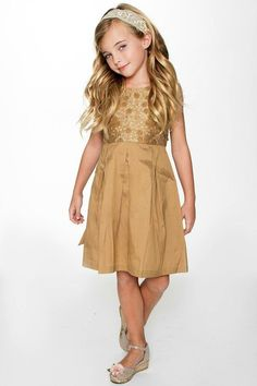 YO BABY Gold-On-Gold Embroidery Dress