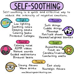 Self-soothing is not only an act of self-care but it's also a great coping mechanism for all kinds of mental health issues. Self-soothing is not only an act of self-care but it's also a great coping mechanism for all kinds of mental health issues. Mental And Emotional Health, Mental Health Matters, Mental Health Awareness, Child Mental Health, Mental Health Occupational Therapy, Mental Health Symptoms, Health Awareness Months, Mental Health Recovery, Improve Mental Health