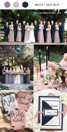 Mauve and navy blue wedding color ideas / http://www.deerpearlflowers.com/mauve-wedding-color-combos/ #purplewedding #mauvewedding #weddingcolors