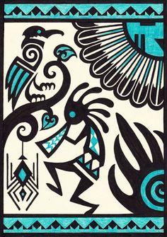 Mexican Art Tattoo Symbols Native American 45 New Ideas Native American Symbols, Native American Design, American Indian Art, Art Indien, Kunst Der Aborigines, Illustration Tattoo, Mexican Art Tattoos, Art Tribal, Southwest Art