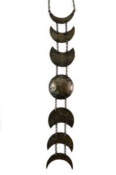 "Phases Of The Moon Necklace - Army of Rokosz -antiqued brass on a 24"" sterling silver chain."