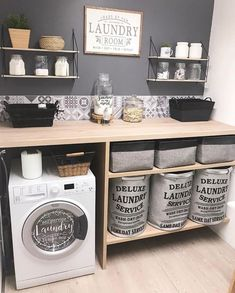 Love this pretty and organized laundry room by Modern Laundry Rooms, Laundry Room Layouts, Farmhouse Laundry Room, Laundry Room Design, Laundry Decor, Laundry Room Organization, Laundry In Bathroom, Organization Ideas, Basement Laundry