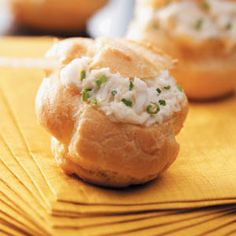 Holiday Appetizer Puffs Recipe-Good things come in little packages with these melt-in-your-mouth puffs. Besides crabmeat, I've used whipped cream or pudding as the filling to create bite-sized desserts.