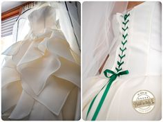 I love the emerald green ribbon on this bridal dress by Atelier Aimée -  ph Stefano P. Tonucci #italianstyle http://www.brideinitaly.com/2013/10/tonuccipelagallina.html #wedding