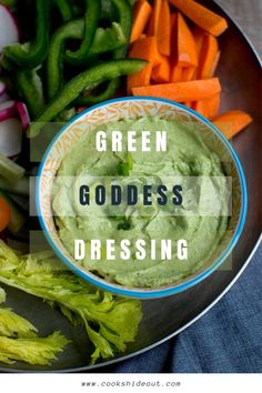 Green Goddess dip is creamy, light and absolutely addictive. Serve with chopped veggies for a healthy and delicious appetizer or a quick snack. #cookshideout #appetizer #dip
