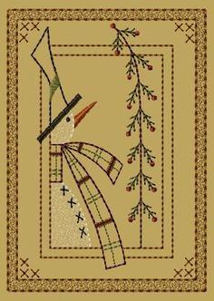 PK078 Frosty's Pine Version 2 - 5x7 - $8.00 : Primitive Keepers, Prim Machine Embroidery Designs