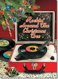 Retro Record Player Christmas Card - Retro Christmas Cards/ Great site to order Christmas cards!