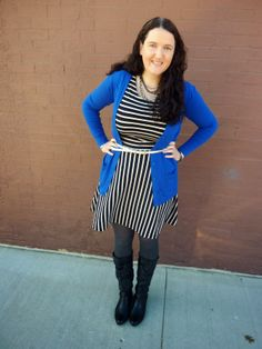 Just Another Smith: #25 - cobalt blue boyfriend cardigan, black/white striped dress, silver belt, black boots