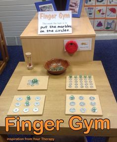 Health gym Finger Gym - marbles and washers. (Inspiration came from Your Therapy Source) Finger Gym - marbles and washers. (Inspiration came from Your Therapy Source) Motor Skills Activities, Gross Motor Skills, Sensory Activities, Therapy Activities, Activities For Kids, Sensory Diet, Stem Skills, Therapy Ideas, Finger Gym