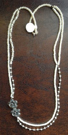 Necklace-Silver pearl custom design,