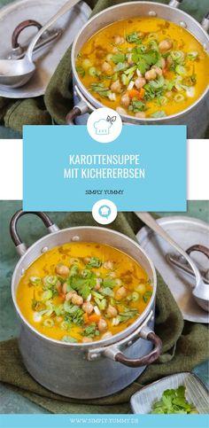 Karottensuppe mit Kichererbsen / Suppen Rezepte … Carrot soup with chickpeas / soup recipes Vegetable Soup Healthy, Healthy Vegetables, Healthy Soup, Vegetable Recipes, Gourmet Recipes, Soup Recipes, Vegetarian Recipes, Healthy Recipes, Chickpea Soup