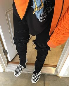 Oversized Raglan Bomber Jacket Orange x Destroyed New Standard Denim Jean Crash Black Effect    Preorder Now    info@lordstudios.us #lordstudios