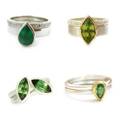 Top left: Two ring set with pear shape emerald and diamonds  Top right:9k white gold with marquise peridot and diamonds  Bottom left: silver and green tourmaline ring set  Bottom right: 9k white gold two band ring, set with pear shape mint garnet in 18k yellow gold.