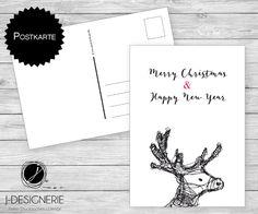 Weihnachtskarten - 6 x ♥ WEIHNACHTSPOSTKARTE ♥ Hirsch 2 - ein Designerstück von J-Designerie bei DaWanda