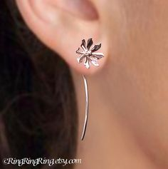 925 Wild flower long stem - sterling silver earrings studs - unique, Jewelry gift for girlfriend 051113