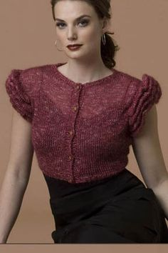 Ruffled Shrug in RITRATTO  Yarn Amounts 2 (2, 3) 1.75oz/50g balls (198yds/181m) S. Charles Collezione RITRATTO in #131 poppy fields  FREE PATTERN