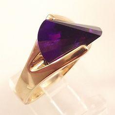 Ladies Laser Cut Russian Formula Alexandrite CZ Gold Ring~Size 5 Free Gift Box