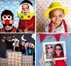 Pint-size Party Idea: Photo Booths for Kids! In the corner of the backyard drape black fabric, wrap some moving boxes in more black or grey and add post it notes, then put out the easel to indicate this is a photo booth and give kids capes, masks, etc. Slumber Parties, Birthday Parties, Kid Parties, Photography Props Kids, Diy Photo Booth, Photo Booths, Capes For Kids, Ideas Para Organizar, Summer Birthday
