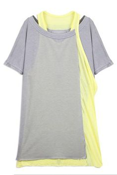 I really want to see this on someone... Grey Short Sleeve Colorblock Contrast Two Pieces T Shirt