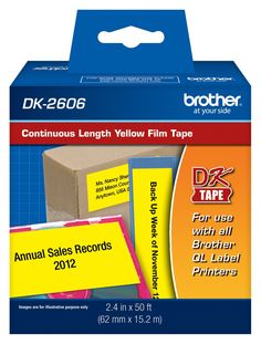 Brother DK2606 Continuous Yellow Film Labels, 50' of Continuous Yellow Label Per Roll for Brother QL-500, QL500 Label Printer -- Awesome products selected by Anna Churchill