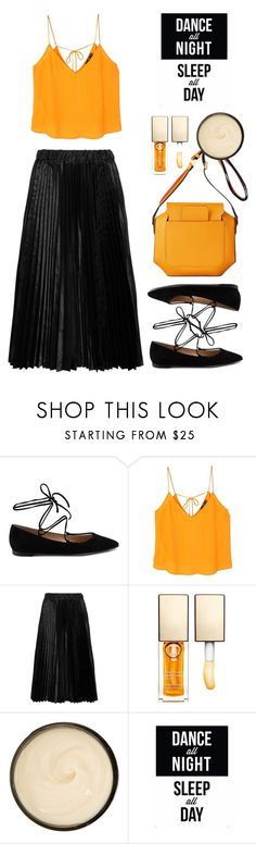 """""""Comme des Garçons GIRL Pleated satin midi skirt"""" by thestyleartisan on Polyvore featuring Gianvito Rossi, MANGO, Comme des Garçons GIRL, Clarins, Christophe Robin and Native State"""