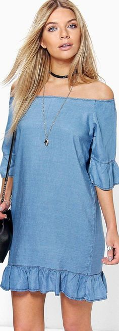 Lucy Ruffle Of The Shoulder Denim Dress - Dresses  - Street Style, Fashion Looks And Outfit Ideas For Spring And Summer 2017