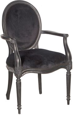Black Velvet French Bedroom Chair Ebony from Out There Interiors